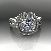 Halo Engagement Ring Forever Brilliant Moissanite and Diamond 2.81 CTW
