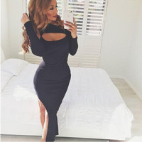 Black Cold Shoulder Long Sleeve Side Slit Dress