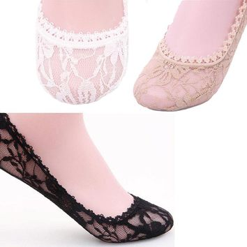 1Pair Fashion Women Lace Invisible Socks Cotton Material Boat socks One Size