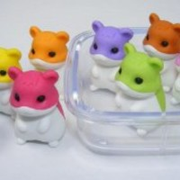 Iwako Japanese Erasers In A Mini Bento Box - 4 Hamsters Assorted Colors