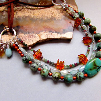 Sedona - Multi-strand Gemstone Necklace of African & Genuine Turquoise, Aquamarine, Amber, Faux Leather Boho Gypsy Hippie Chic Southwest