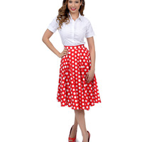 Hell Bunny 1950s Style Red & White Dotted Mariam Swing Skirt