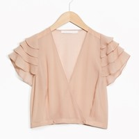 & Other Stories | Rodarte Cropped Silk Top | Beige
