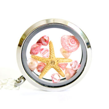 Glass Locket Necklace Terrarium Jewelry Beach Pendant Pink Seashells Starfish