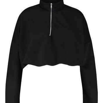 Plus Zip Front Sweat Top | Boohoo