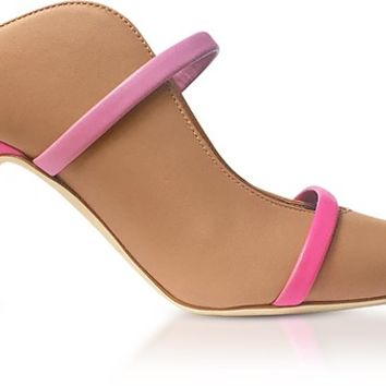 Malone Souliers Nude, Geranium and Bubblegum Nappa Maureen 70mm High Heel Mules