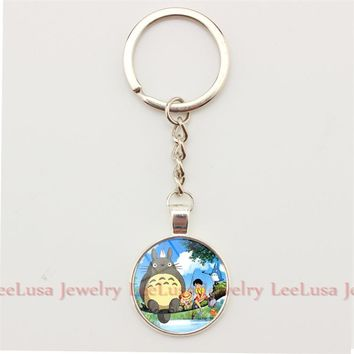 Japan Anime My Neighbor Art Picture Totoro Keychain  Hayao Miyazaki's Movie Keychain Key Ring Jewelry for Children