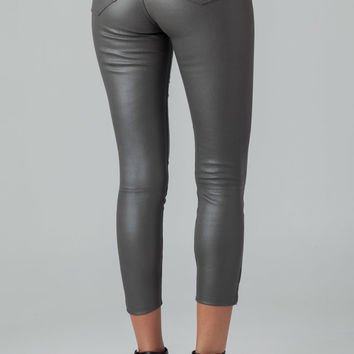 J Brand L8035 Leather Capri Cropped Pants in Smoketone