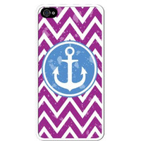 Purple Chevron Nautical Blue Boat Anchor Apple Iphone 4 Quality TPU Soft Rubber Case for Iphone 4/4s - AT&T Sprint Verizon - White Case