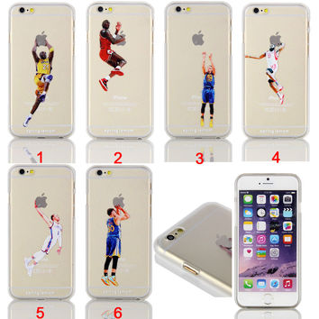 NBA Logo Basketball Players Action Transparent Hard Cover Case for Iphone 5/5s/5c/6/6plus