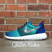 Women's Nike Roshe One PRT Casual Shoes By Glitter Kicks - Customized With Swarovski Elements Crystal Rhinestones - Black/White Gradient Print