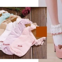 6 colours lolita japan vivi Fujii LENA fairy Kei ballerina lace trim ankle socks
