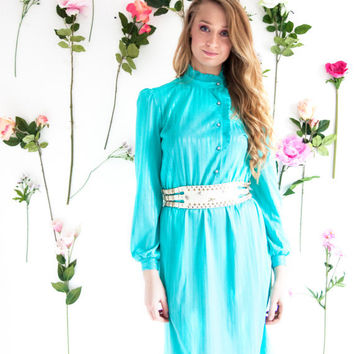 Mint Macaroon, French Vintage, 1970s Turquoise Mint Green Midi Dress, with Long Sleeves, from Paris