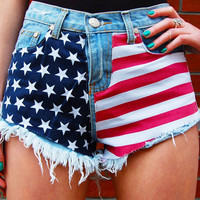 Star Studded Cutoffs - High Waist Denim Shorts with USA Flag Print Design | Wildtwee