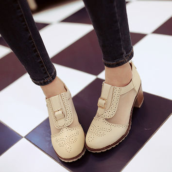 PU Round Toe Middle Block Heel Back Zipper Brogues