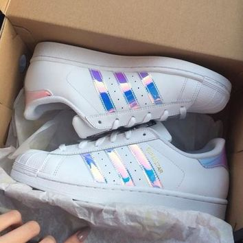 """Trendsetter """"Adidas"""" Women Fashion Reflective Flats Sneakers Sport Shoes"""