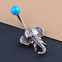 Elephant Design Navel Belly Button Ring Steel