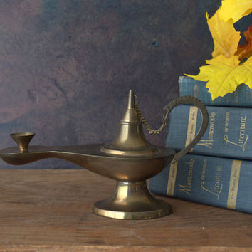 Boho Mid Century Brass Genie Lamp Incense Burner