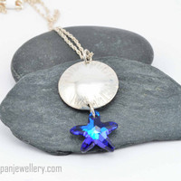Silver chased dome pendant - blue Swarovski starfish, sterling silver, bermuda blue, starfish, funky, handmade, hand chased, ocean, beach