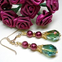 Burgundy Pearl and Green Vitrail Crystal Teardrop Holiday Earrings