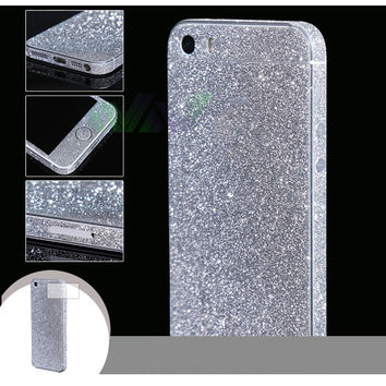 For iphone 5 5s SE Bling 360 Degree Full Body Decal Skin Bling Glitter Phone Protective Sticker Wrap Phone Case Free Shipping