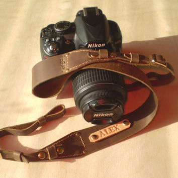 Personalized Camera strap leather Camera strap monogram Camera strap DSLR camera strap Brown camera strap