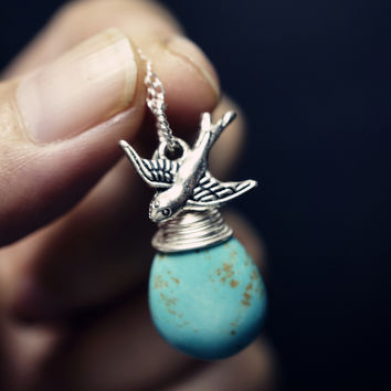 Genuine Turquoise Necklace - Tiny Bird Necklace - Simple Sterling Silver Teardrop Turquoise Necklace Swallow Wrapped Turquoise Pendant