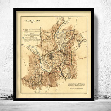 Antique Map of Chattanooga, Tennessee 1863
