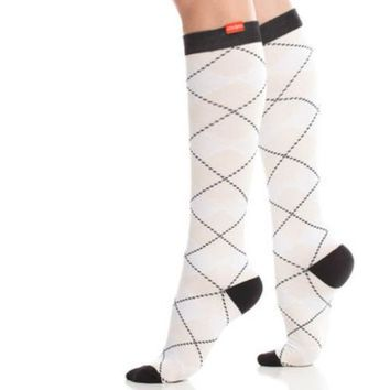 White & Blush Argyle Compression Socks for Women