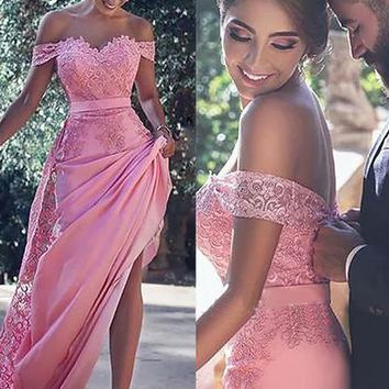 Off Shoulder Lace Applique Sweep Train Prom Dress