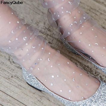 2018 Newest Womens Glitter Thin Soft Shiny Stars Moon Socks Sheer Mesh Tulle Transparent Socks Visible Hosiery Socks Hot selling