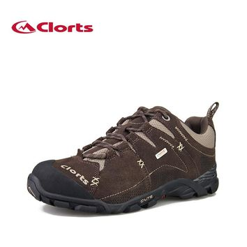 Clorts EVENT Waterproof Trekking Shoes for Men Genuine Leather Hiking Boots Winter Mountain Sneakers 3D007