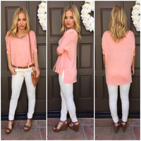 Freedom Jersey Short Sleeve Blouse - Peach