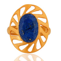 Handmade Natural Lapis Lazuli Gemstone 925 Sterling Silver 18K Gold Plated Ring