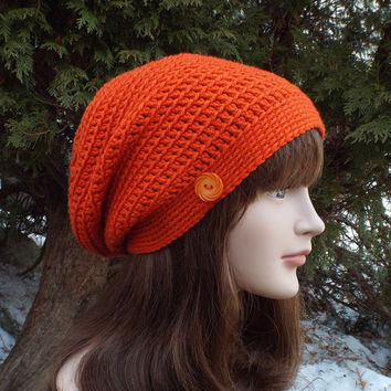Orange Slouch Beanie - Womens Slouchy Crochet Hat - Ladies Oversized Cap with Button - Hipster Hat - Baggy Beanie