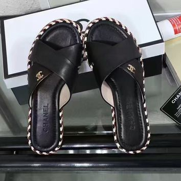 Chanel £º Cross woven color leisure flat bottomed sandals