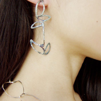 Oxidised leaves silver earrings, dangle solid sterling earrings with quirky, organic pattern