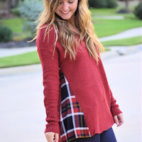 Plaid Inlay Sweater-Rust