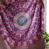 Elephant Mandala Tapestries Paisley Hippie Tapestry Indian Traditional Throw Boh...
