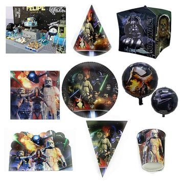 New Star War Cartoon Theme Paper tableware Plate Cup Banner Napkins Tablecloth Topper Balloon Bag Favor Party Birthday Gift