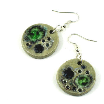 Ceramic Earrings Handmade Jewellery Cream Round disc with multicolour fused glass Comes in Handmade Gift Pouch