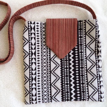 Black and white Aztec bag/ Handmade woven fabric bag/ Black and white Aztec print with brown stripes/ Bohemian crossbody bag by Boho Rain