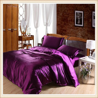 Luxury silk like four pieces bedding set bedding set duvet cover bed sheets solid color double satin bedding