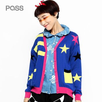 New Arrival Spring Women Button Fashion Cardigan V-Neck Stripe Star Pattern Pocket Female Sweater
