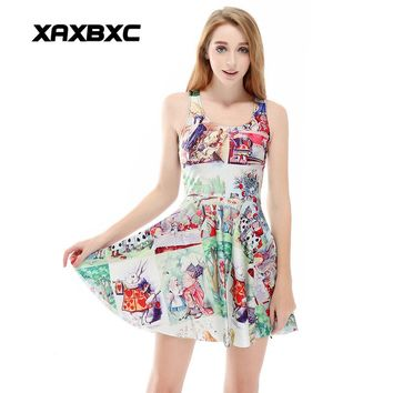 XAXBXC 1188 Summer Sexy Girl Dress Comics Party Alice in Wonderland  Prints Reversible Vest Skater Women Pleated Dress Plus size
