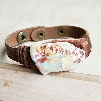 Aqua Terra Slab on Narrow Leather Cuff Bracelet
