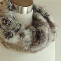 Faux Fur Cowl - Textured Wild Rabbit Infinity Scarf