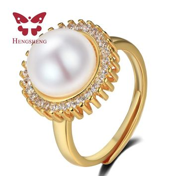 Classic Royal Natural Pearl Ring Fashion Flexible Engagement Wedding Jewelry For Women Charms Jewelry 10-11MM