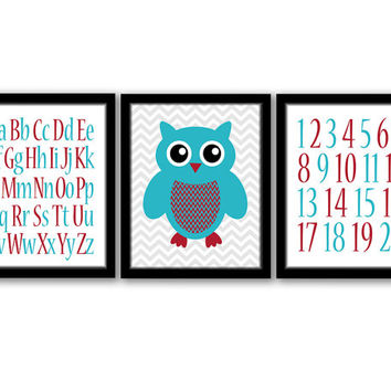 Owl Wall Art, Set of 3, Alphabet Art, Playroom Decor, Numbers Art, Owl Decor, Nursery Decor, Owl Nursery, Red & Turquoise, INSTANT DOWNLOAD