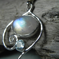 NECKLACE - Rainbow Moonstone Sterling Silver Spiral Swirl Necklace - Blue Topaz Moonstone Necklace - December June Birthstone - Aqua Blue